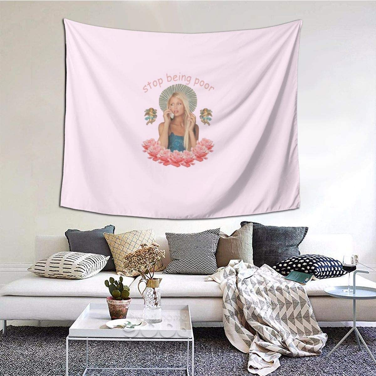 TANGOGO Tapestry Funny Paris Hilton Stop Being Poor Wall Hanging Home Decor for Living Room Bedroom Dorm Room 60 W X 51 H Inches
