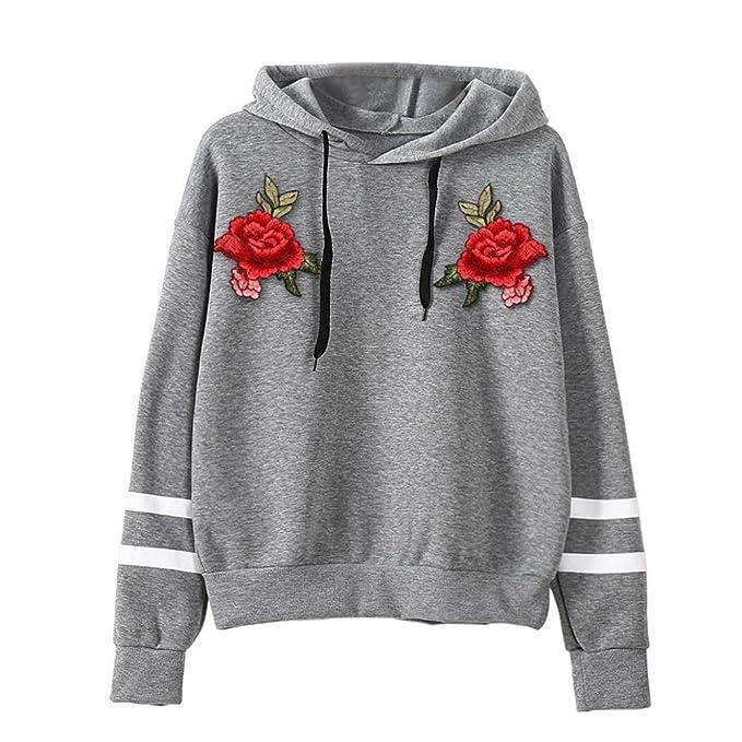 ABsoar Sweatshirt Sweatshirt Damen Kapuzenpullover Hoodie Langarm Hoodie  Stickerei Rose Shirt Fleece Applikationen Pullover Tops Bluse  Oberteile,ABsoar … 3c4a299b73