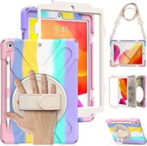 Case for iPad 8th/7th Generation 10.2 inch 2020/2019, iPad Case with Screen Protector for Kids, Shockproof Waterproof Rugged Cover, Kickstand Carrying & Hand Strap Pencil Holder Bumper - Rainbow Pink