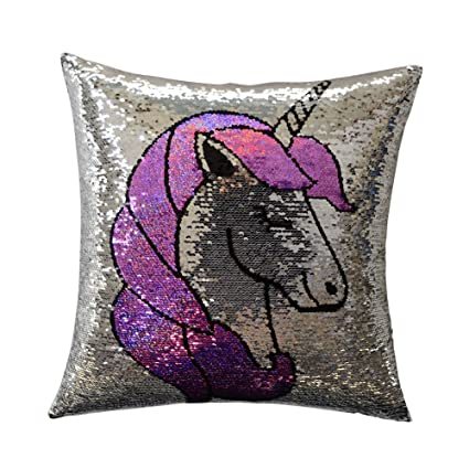 KingRose Reversible Sequin Throw Pillow Case Decorative Square Cushion Cover for Sofa Couch Chair 16 x 16 Inches Silver Pink