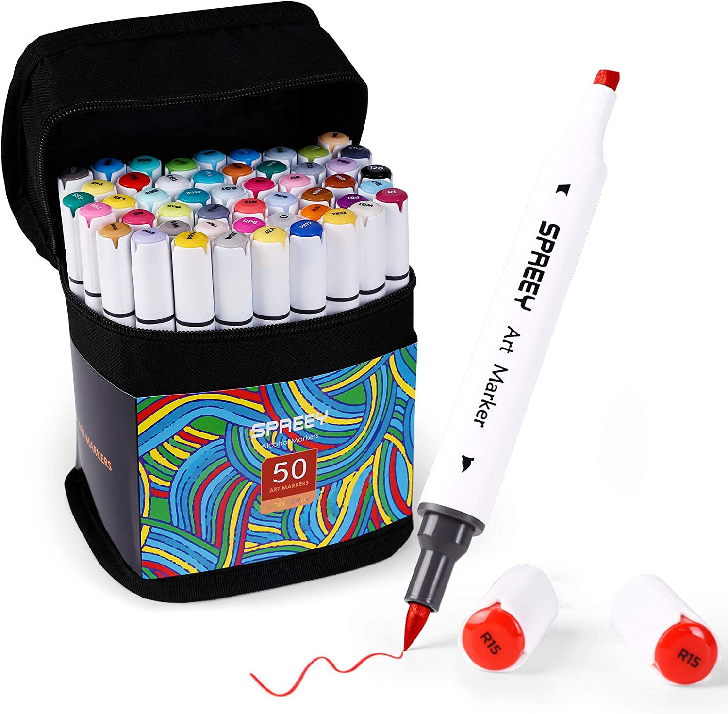 SPREEY 50 Colors Alcohol Brush Markers, Dual Tips(Brush & Chisel + 1 Colorless Alcohol Marker Blender), Art Alcohol Markers Set, for Kids Drawing, Coloring, Adult Illustration, Artist Sketching