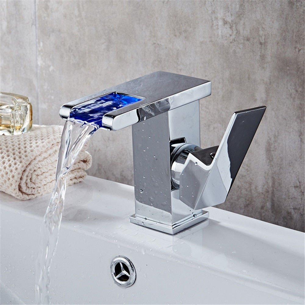 Good quality Antiquitäten Becken Spül Mischer Tap Kupferner Bassinhahn heißer und kalter einzelner Lochhahn-Wasserfallbadezimmer-Hahn LED-Badezimmerhahn