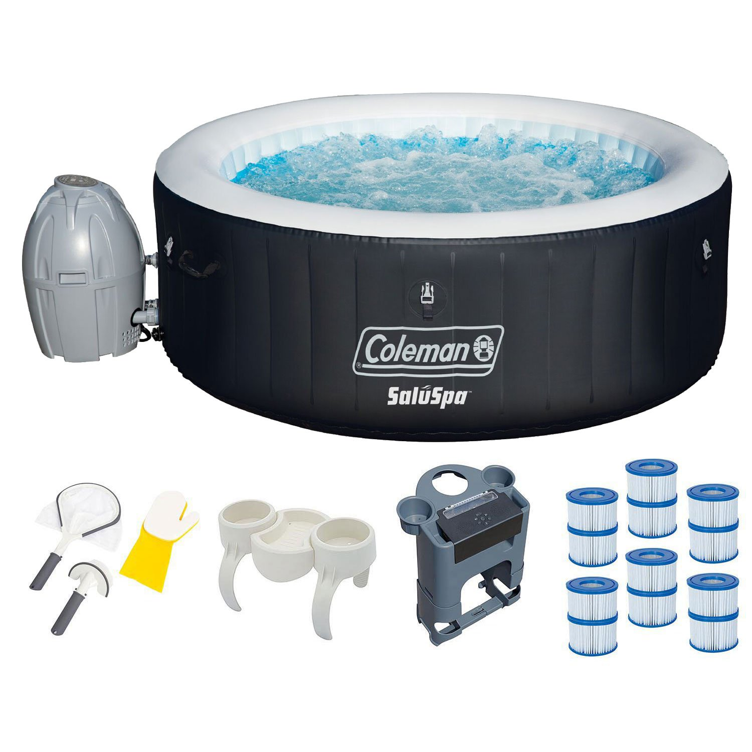 Coleman SaluSpa 4-Person Inflatable Spa Hot Tub with Accessories & Cleaning Kit by Coleman