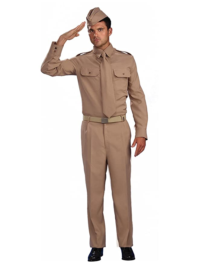 free shipping c606a 8c150 Amazon.com  Forum Novelties Men s Combat Heroes Ww2 Private Soldier Costume,  Khaki, Standard  Clothing