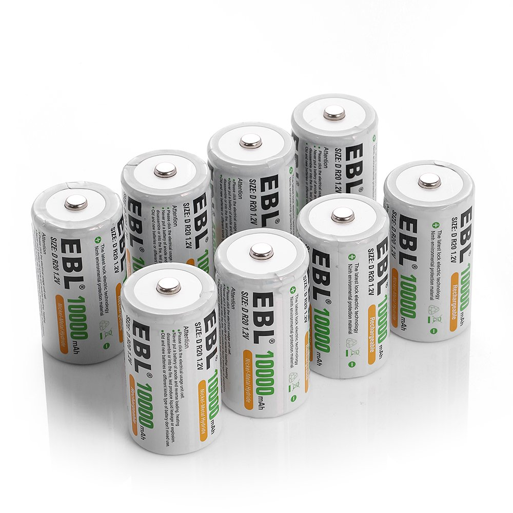 EBL Pack of 8 10000mAh Ni-MH D Cells Rechargeable Batteries, Battery Case Included