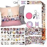 BTS Gift Set for Army - 40 BTS Lomo Cards/12 Sheet BTS Stickers/1 BTS Pillow Case/1 BTS Lanyard/1 BTS Phone Holder/1 BTS Keychain/2 BTS Button Pins/2 BTS Tatoo Stickers