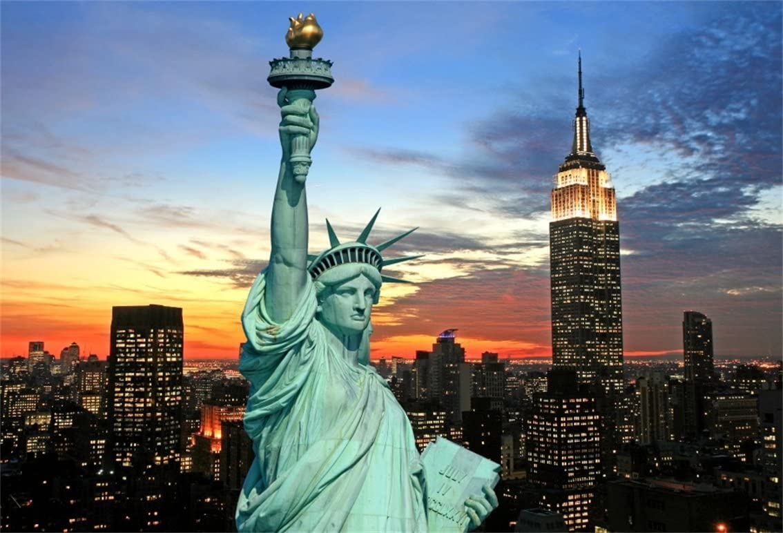 Amazon Com Csfoto 7x5ft Background For Statue Of Liberty New York City Skyline Photography Backdrop Usa Famous American Historic Landmark Night Holiday Vacation Tour Photo Studio Props Polyester Wallpaper Camera