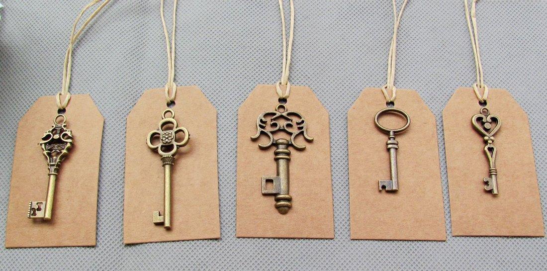 SL crafts Mixed 100pcs Skeleton Keys & 100 pcs Kraft Tags Antiqued Brass Bronze Charms Pendants Wedding Favor 34mm-68mm by SL crafts (Image #4)