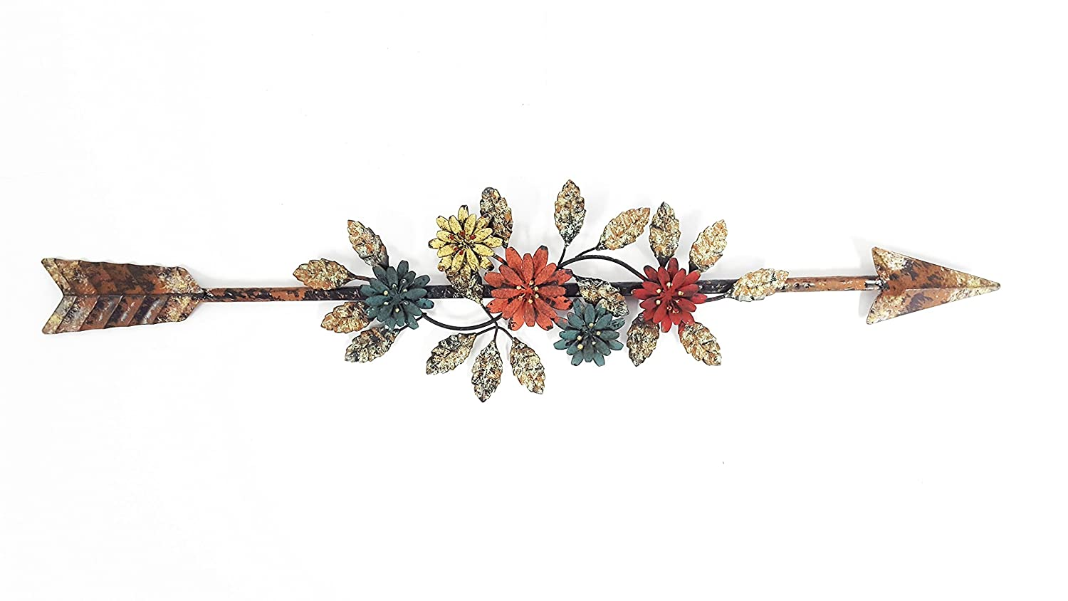Metal Flower-Embellished Arrow Wall Decor