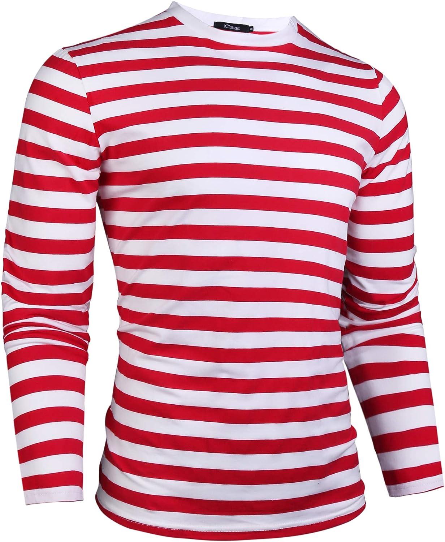 iClosam Uomo Maglietta Basic a Righe Maglietta a Maniche Lunghe in Cotone e Manica Corta