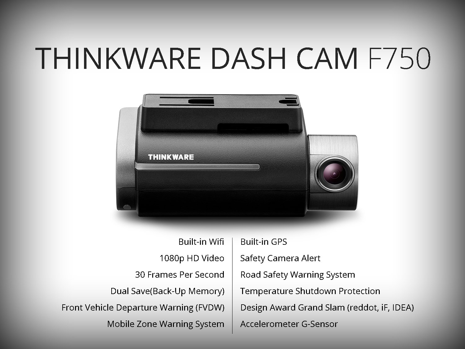 THINKWARE TW-F750D16 F750 2-Channel Dash Cam, 1080P HD Front & Rear, Sony Exmor Sensor, Wi-Fi, Dual Save Technology, Parking Mode, GPS, 16GB SD Card by Thinkware (Image #1)