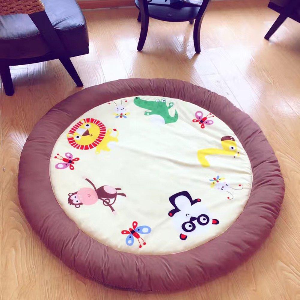 Zoo Cartoon Baby Rugs Round - 100% Cotton Rugs Baby Plush Children Game Rugs Anti-slip Rugs 59 x 59 Inch Brown