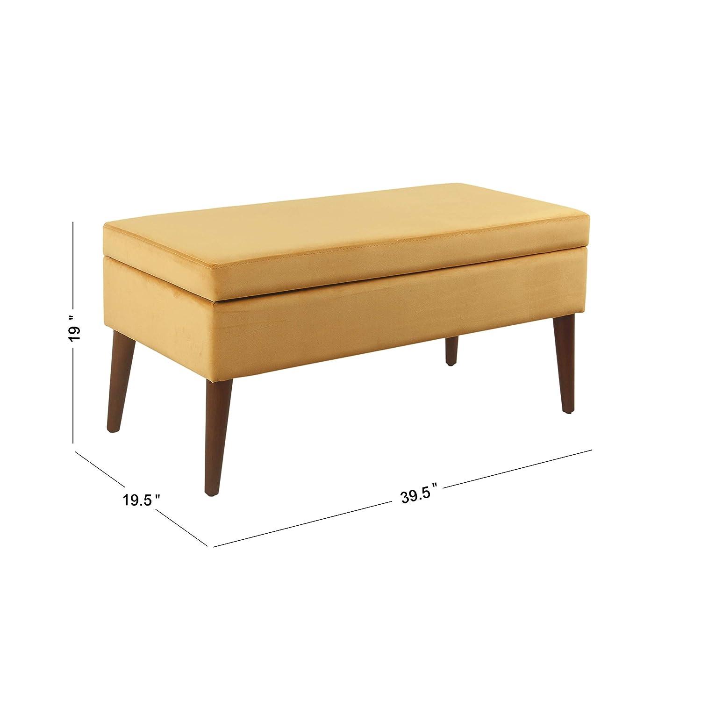 Spatial Order Kaufmann Mid Century Modern Mid Century Large Storage Bench, Yellow