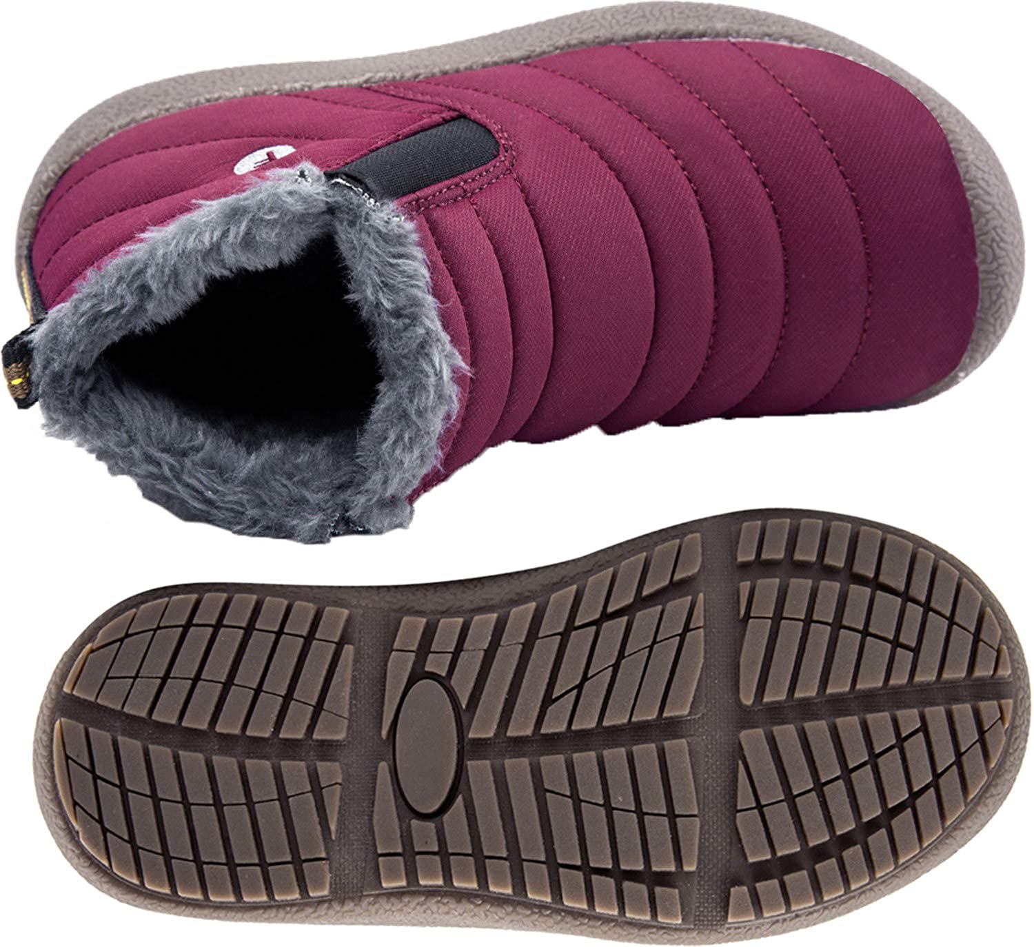 Barerun Kids Winter Snow Boots Fur Lined Warm Outdoor Ankle Boots Shoes for Girls Boys