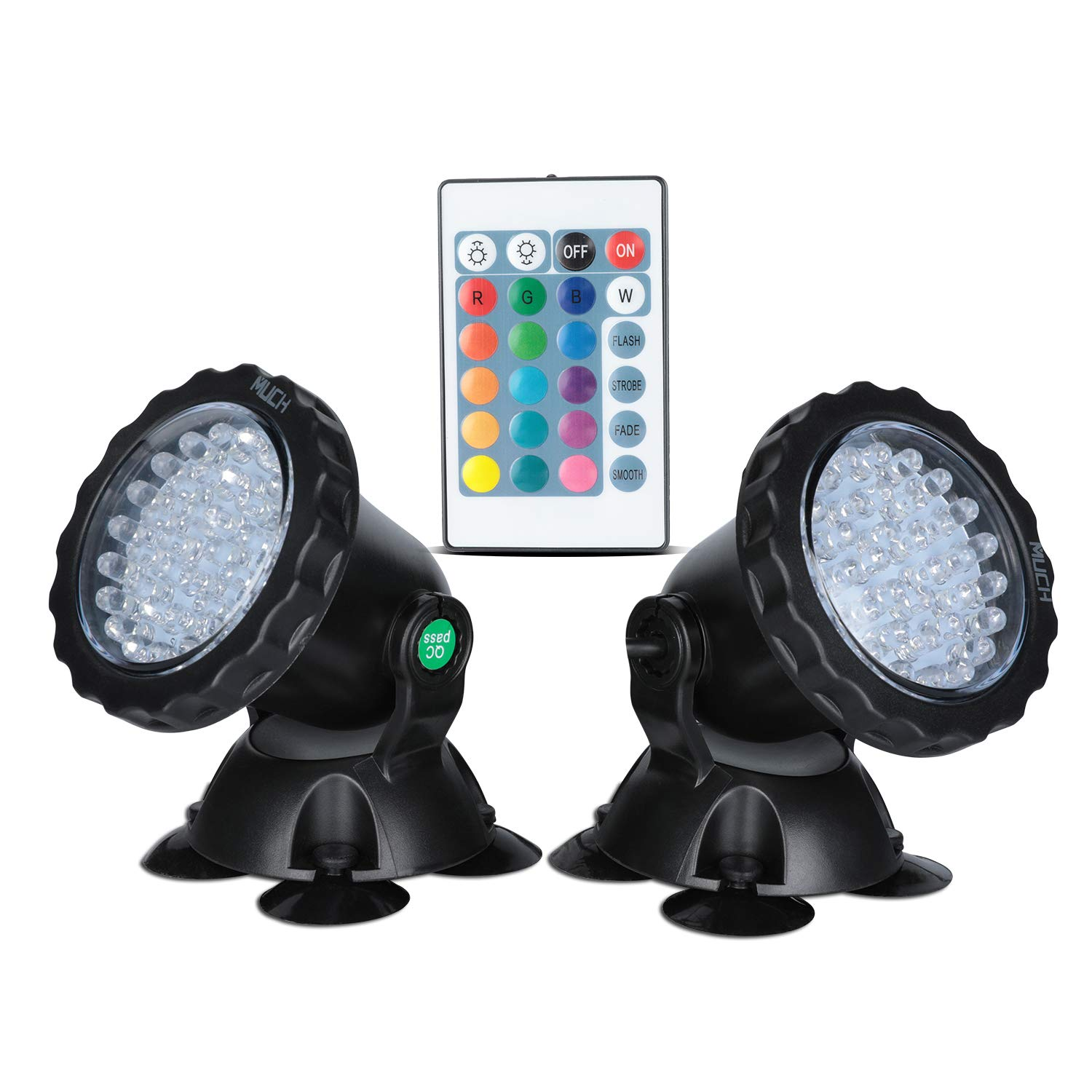 MUCH Underwater Pond Light Remote Control Waterproof IP 68 Submersible Spotlight with 36 LED Bulbs 5 W Multi-Color Spot Light for Aquarium Garden Pond Aquarium Tank Fountain Waterfall (Set of 2)