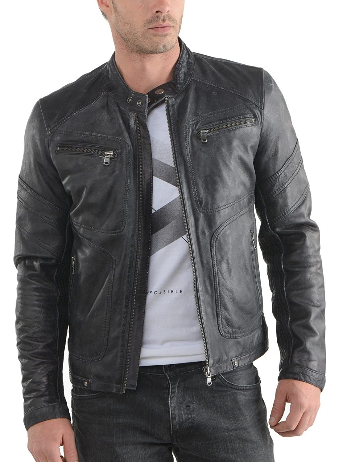 FarihaLeather Leather Men's Lambskin Leather Bomber Biker Jacket