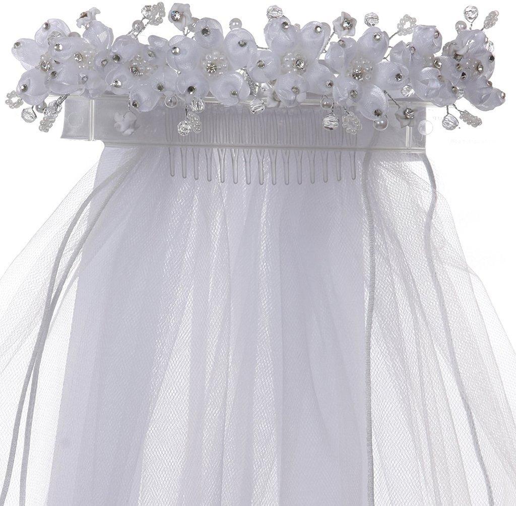 iGirlDress Girls White Floral Wreath Rhinestone Pearls First Communion Veil 499