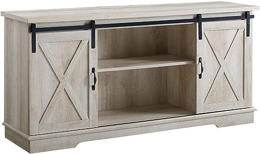 Offex - Mueble de madera para TV con puerta corredera de granero (58
