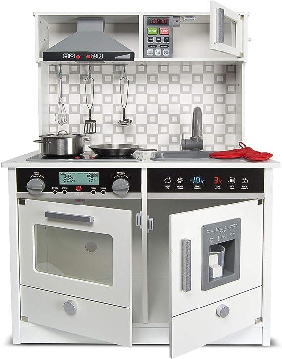 Leomark White Modern Cocina eléctrica Madera Infantil con Accesorios: Campana Extractora, microondas - Color BLANCO - Juguete para Niños Efectos de Sonido de iluminación Dim: 65x30x94 (altura)cm: Amazon.es: Juguetes y juegos