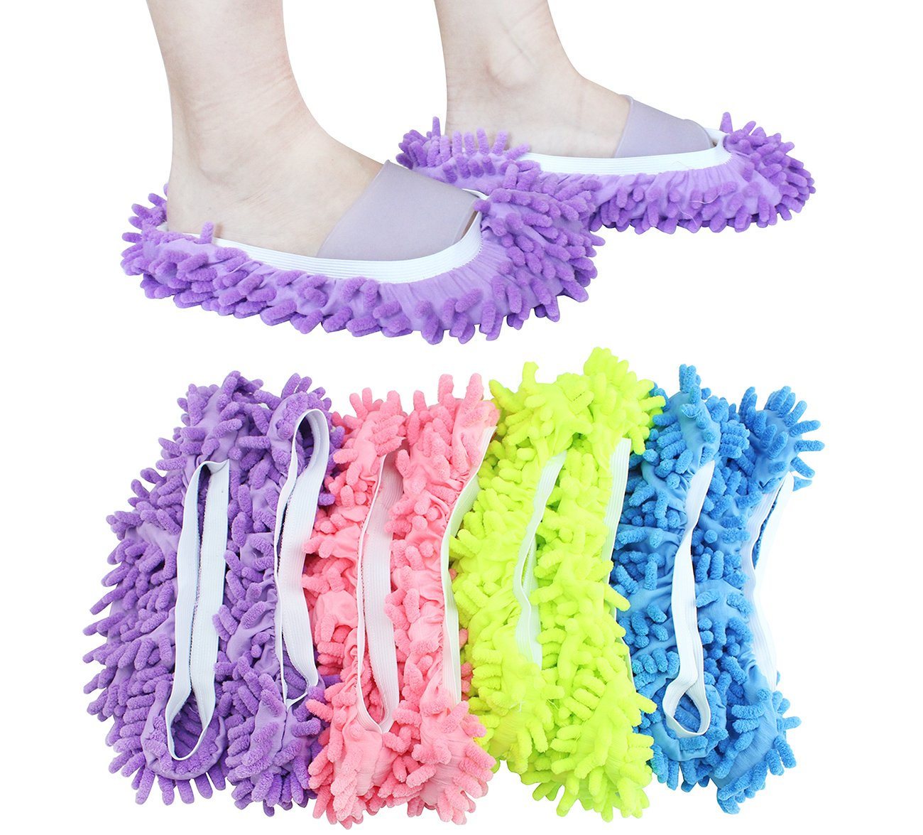 ZOND The Original Mop Slippers, Mop Sock, Assorted Colors, Dusting cleaning foot sock (4 Pairs 8 Pcs Total)