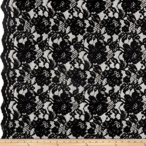 Ben Textiles Heavy Corded Chantilly Lace Black Fabric by The Yard