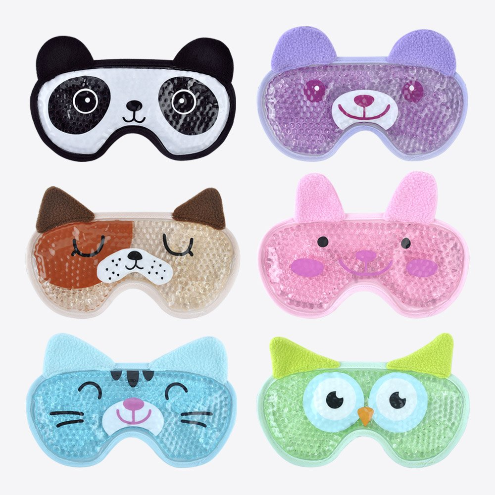 Hot Cold Face Eye Mask for Hot or Cold Therapy, Microwave Travel Sleep Eye Mask with Gel Beads, Cute Soft Ice Compress Eye Pad with Straps for Soothing Puffy Eyes, Swollen Eyes, Dark Circles, Stress by NEWGO (Image #4)