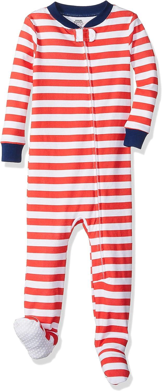 Essentials Baby Zip-Front Footed Sleeper Even Stripe Red White 18-24M