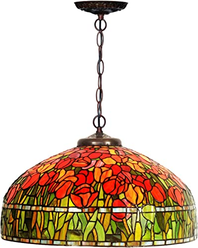 HT Tiffany Styled Hanging Pendant Lamp, 20 inch Wide Red Tulip Stained Glass Lampshade 3 Light, Chandelier Ceiling Fixture Decor Kitchen Restaurant Corridor Bedroom Living Room Terrace Bar