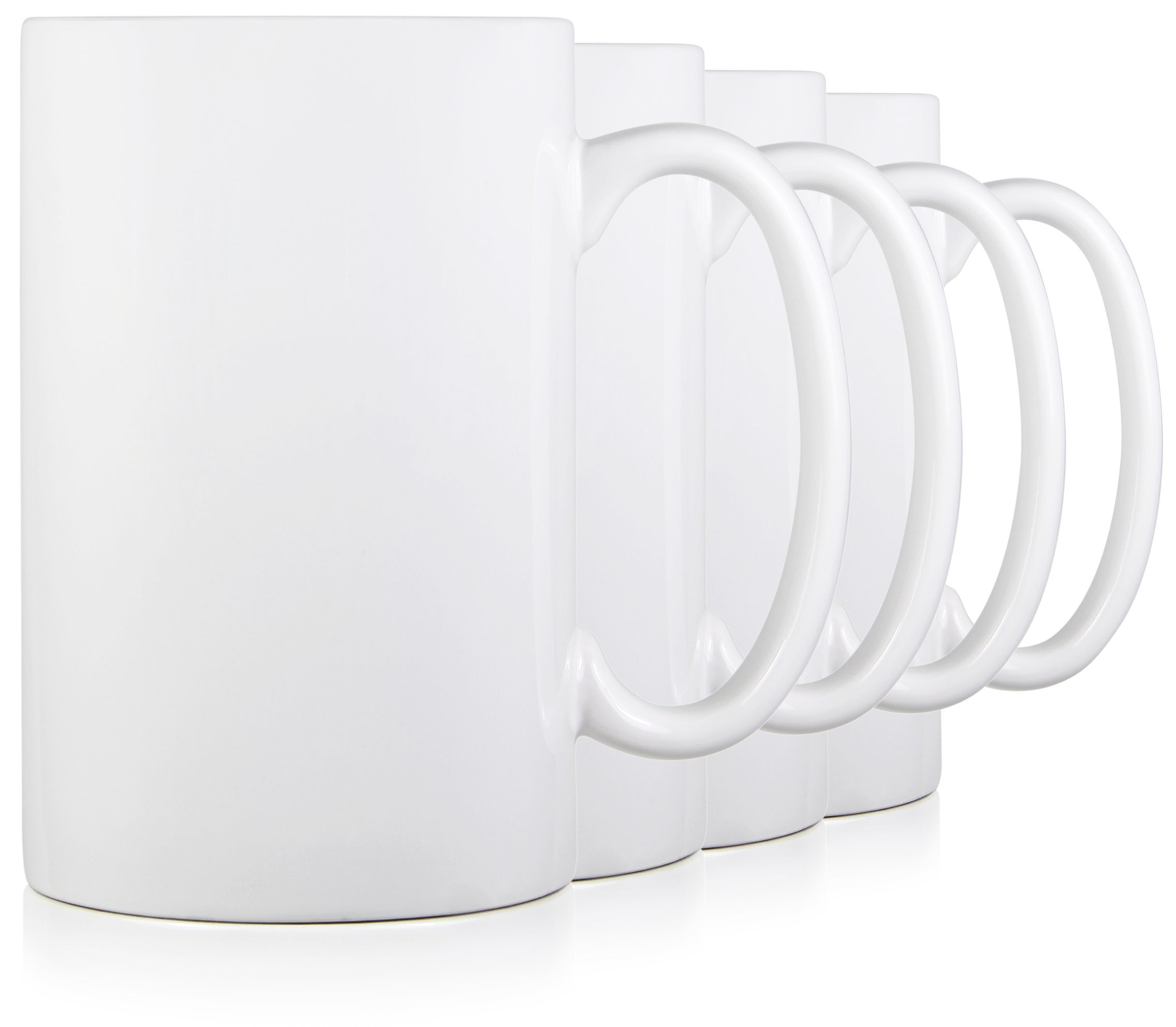 Serami 17oz White Classic Tall Mugs for Coffee or Tea. Large Handles and Ceramic Construction, Set of 4