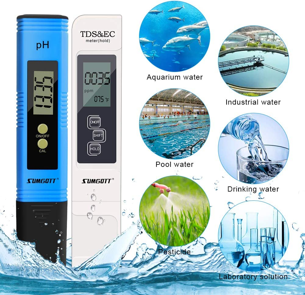 Aquariums Testeur ph ec Piscine PH TDS/&EC temp/érature 4 en 1 Set Plage de pour leau Potable piscines PH M/ètre