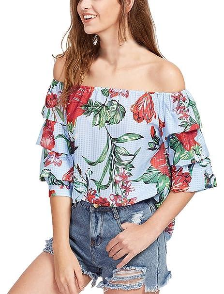 Mujer Camisetas Verano Hombros Descubiertos Estampadas De Flores Tops Blusa Elegantes Media Manga Barco Cuello Anchas