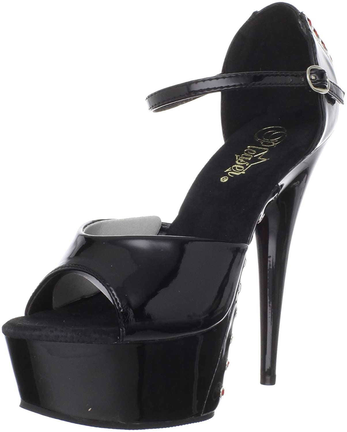 Pleaser Women's Delight-660FH/B/M Pump B0044D5OMS 6 B(M) US|Black Patent/Black
