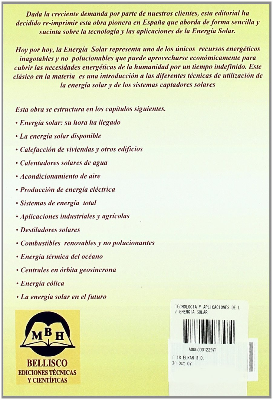 Tecnologia y aplicaciones de la energia solar: Amazon.es: Richard J. Williams: Libros