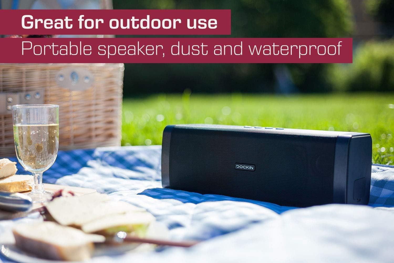 Dockin D Fine Hi Fi Bluetooth Speaker Speakers For Indoor Outdoor Wireless Easy To Carry Waterproof 50 Watts Black Mp3 Hifi