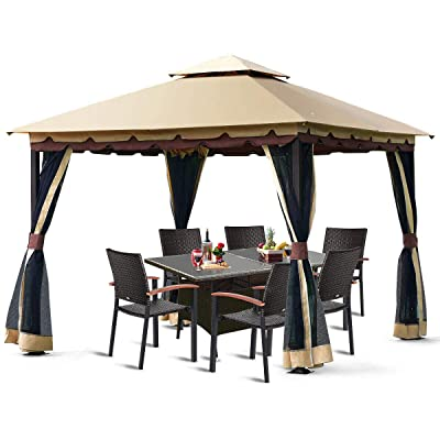 Alek...Shop Outdoor Recreation Camping Tents & Shelters Awning Steel, W/Mosquito Netting Sun Privacy 2-Tier 10'x 10' Canopy Tent Shelter Patio Lawn Garden Accessories Canopies Gazebo: Sports & Outdoors