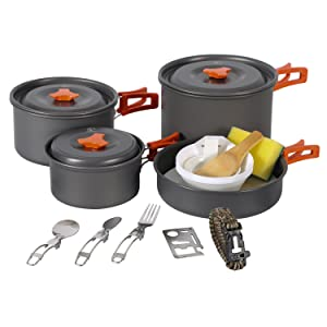 REDCAMP 9/12/18/23 PCS Camping Cookware Mess Kit with Kettle, Aluminum Lightweight Folding Camping Pots and Pans Set for 1/2/3/4 Person, FDA Approved