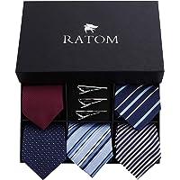 RATOM ネクタイ ネクタイピン セット【ネクタイ5本+ピン3本+ギフトボックス、洗濯OK】