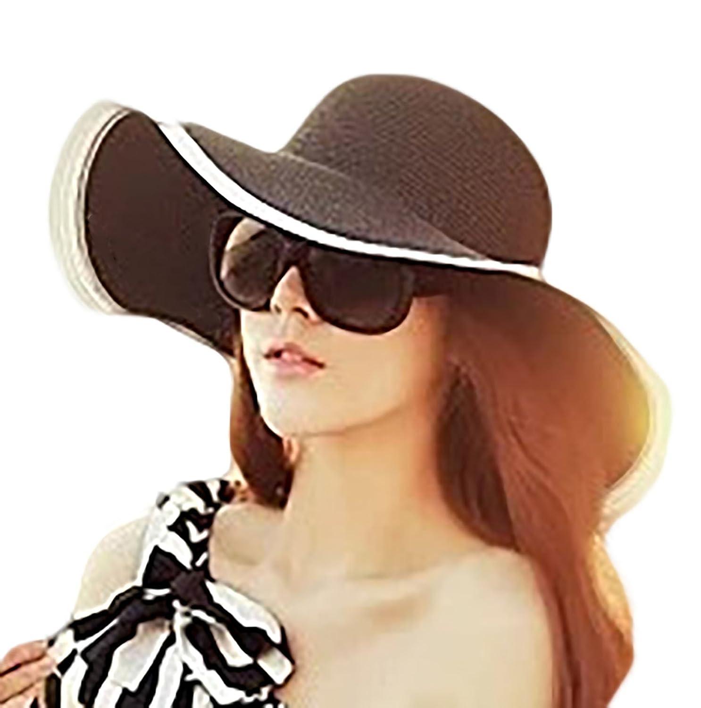 fdee44f059c IL Caldo Womens Sun Hat Black   White Folding Floppy Derby Hat Wide Large  Brim Travel