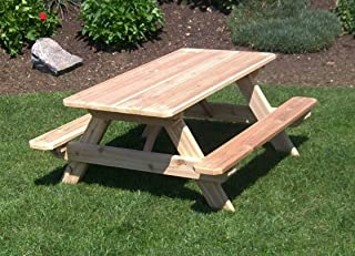 product image for Cedar Kid's Picnic Table with 2 Backed Benches, Oak Stain