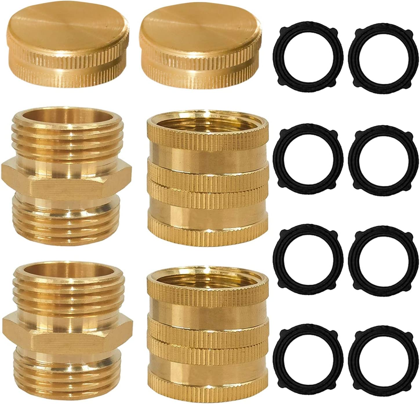 "Xiny Tool Garden Hose Adapter, 3/4"" Solid Brass Hose Connectors and Hose Ends, Male to Male, Female to Female, 3/4 Inch Brass Connector, 6-Pack with Extra 4 Washers"
