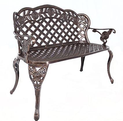 HOMEFUN Outdoor Bench Cast Aluminum Garden Bench Metal Patio Loveseat  Backyard Furniture (Antique Bronze)