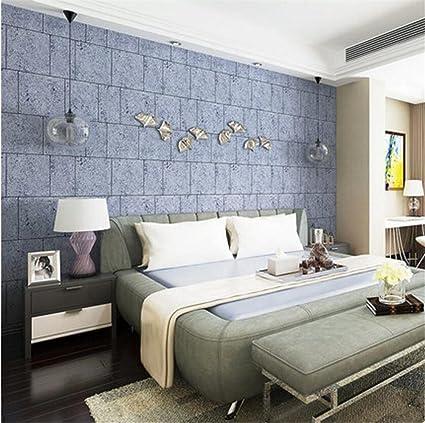 4ea4a616edf Papel pintado moderno minimalista 3D tridimensional acolchado no tejido  creativo imitación cemento ladrillo papel pintado decoración dormitorio TV  ...