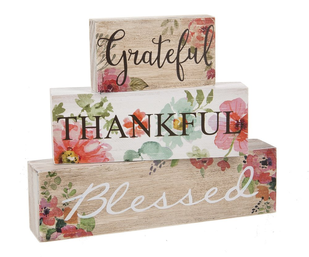 Grateful Thankful Blessed Watercolor Floral Wood Stacked Blocks Décor