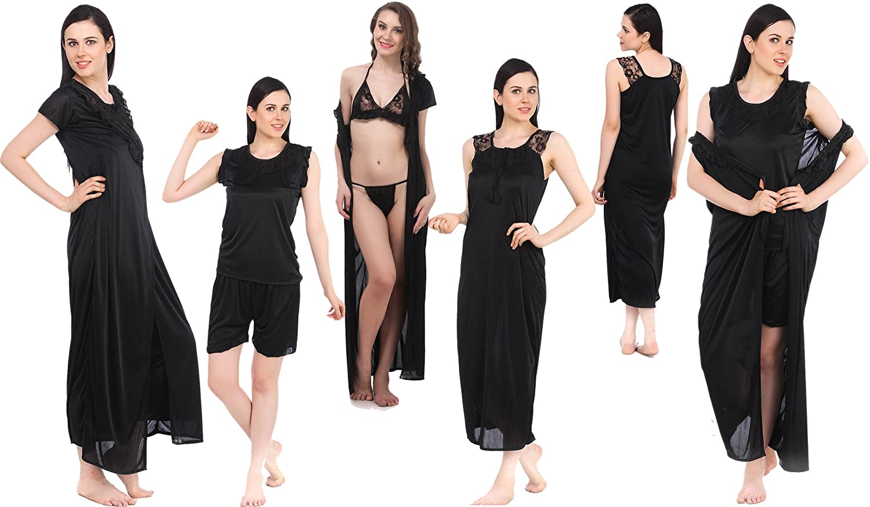 Fasense Women\'s Satin Nightwear - Set of 6: Amazon.in: Clothing ...