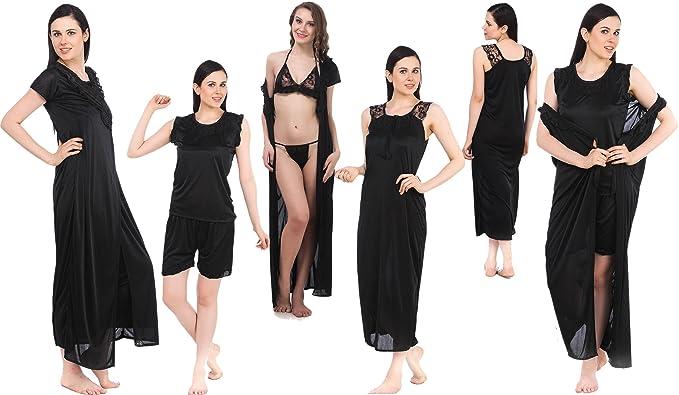 81ba6aed72 Fasense Women s Satin Nightwear - Set of 6  Amazon.in  Clothing ...