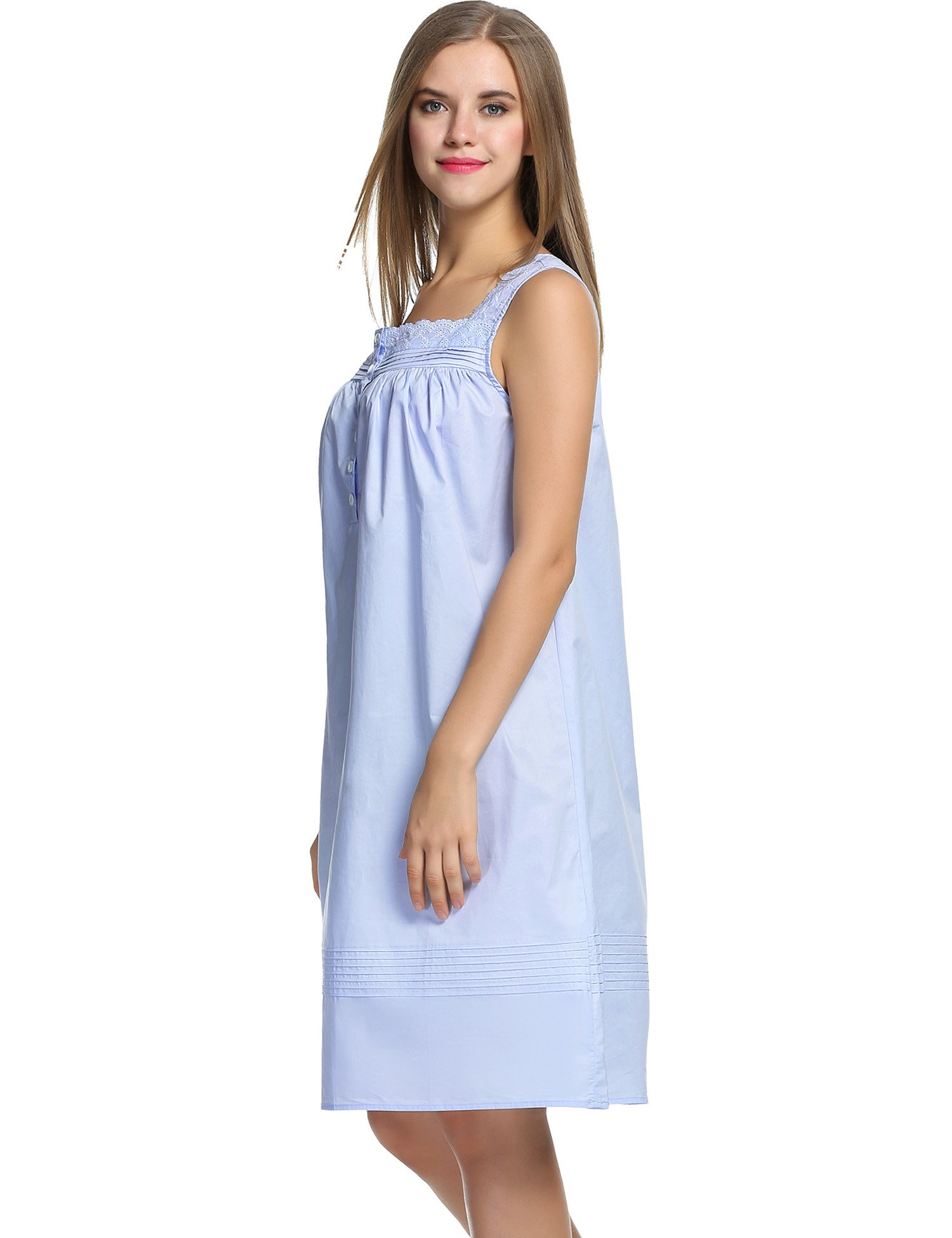 Hotouch Women's Plus-Size Sleep Shirt Lightweight Nightgowns Light Blue L by Hotouch (Image #4)