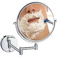 UNIQUEBELLA 8 Pouces Miroir Mural Grossissant x10/x7 Fois grossissement-Extension Pliant-Rond-Double Face-360 Degrés Rotation