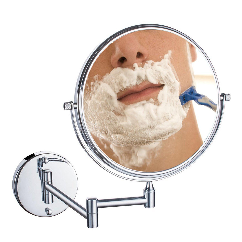 Uniquebella specchio cosmetico, 10x ingrandimento a parete specchio da 8 pollici Two Sided vanity mirror cosmetici, 360 ° girevole, braccio estensibile per bagno camera da letto (10x Ingrandimento)
