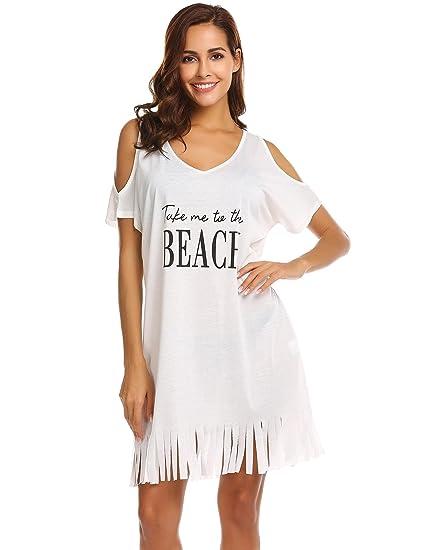 288a476c9b47e Ouyilu Womens Cotton Short Sleeve Swimwear Bikini Swim Beachwear Swimsuit  Cover up(White M)
