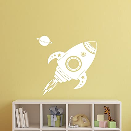 Amazon.com: Imprinted Designs Spaceship Rocket with Planet Wall ...